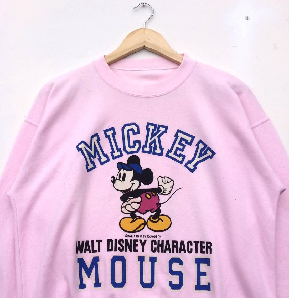 Size US M EU Vintage Disney Mickey Mouse Pink Sweatshirt Big Logo
