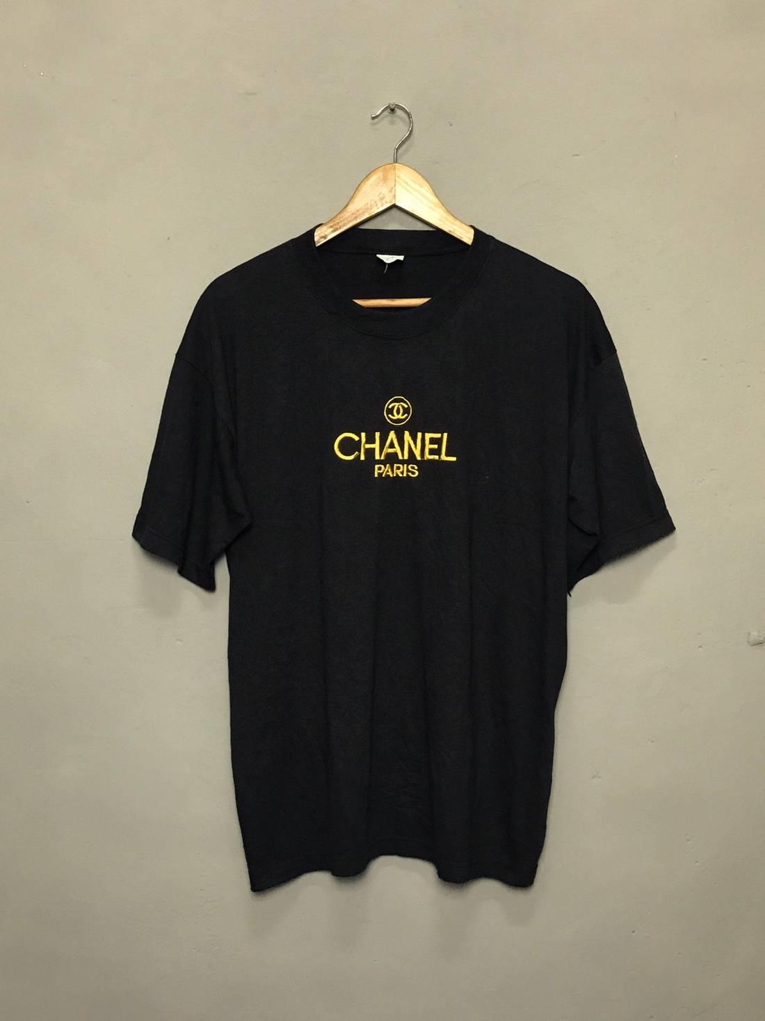 vintage bootleg chanel paris embroidered gold logo