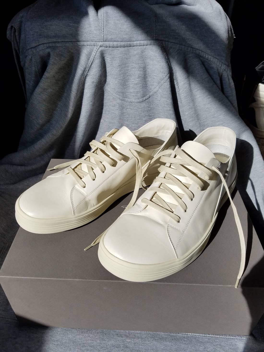 Rick Owens White & Off-White Geothrasher Low Sneakers