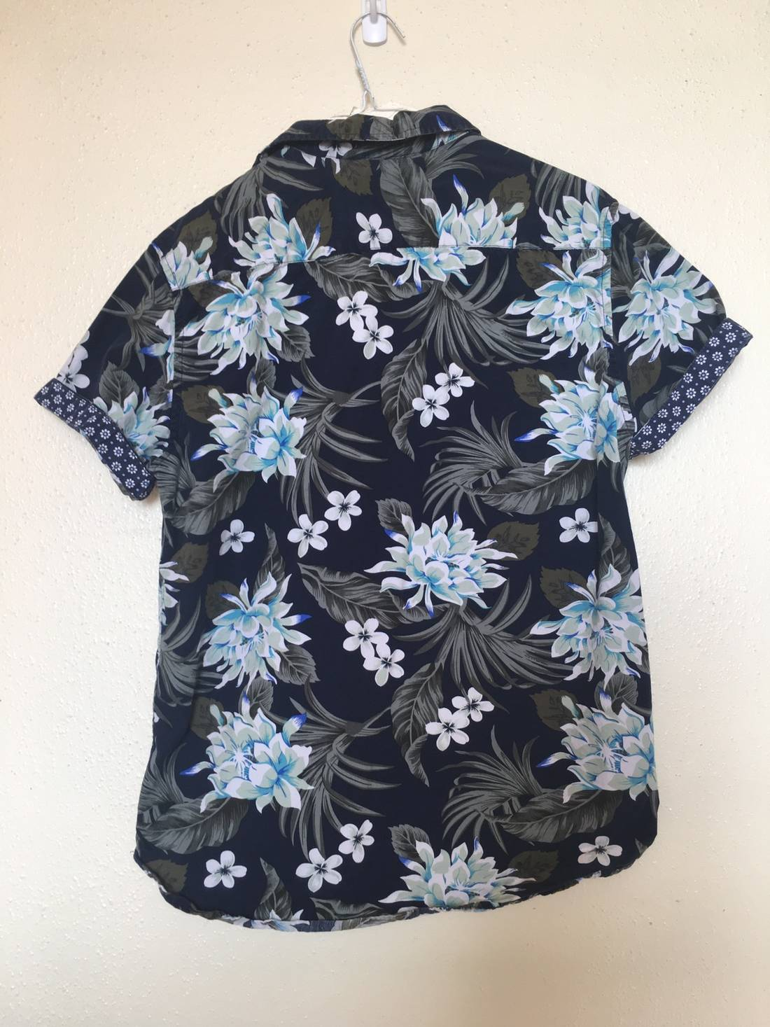 Hawaiian Shirt Denim And Flower Hawaiian Floral Shirt Size M