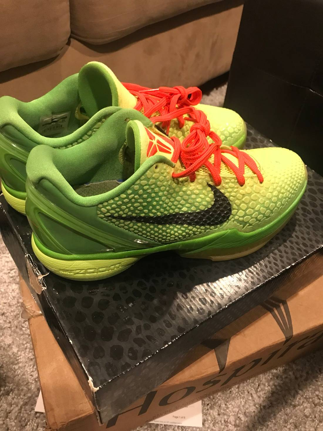 Nike Kobe 6 Grinch / Christmas Size 8 - Low-Top Sneakers for Sale ...