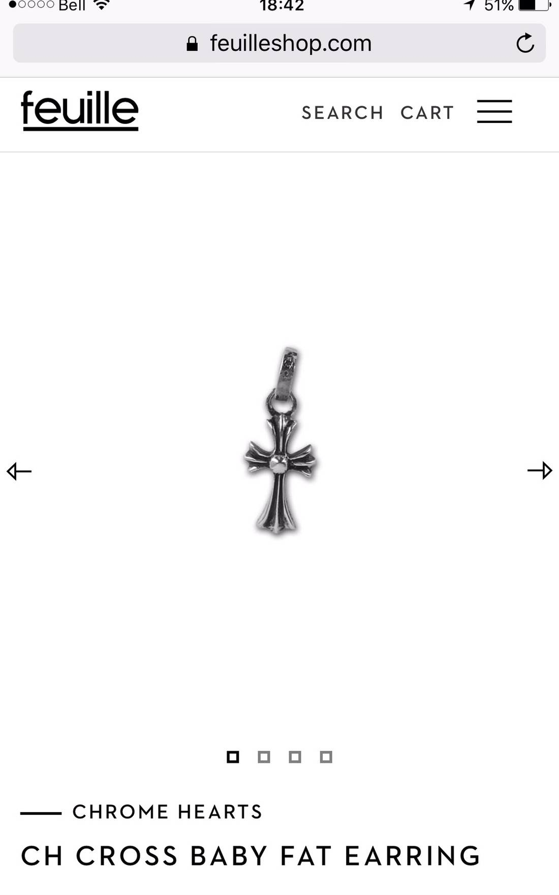 Chrome Hearts Ch Cross Baby Fat Earring Size One Size Jewelry