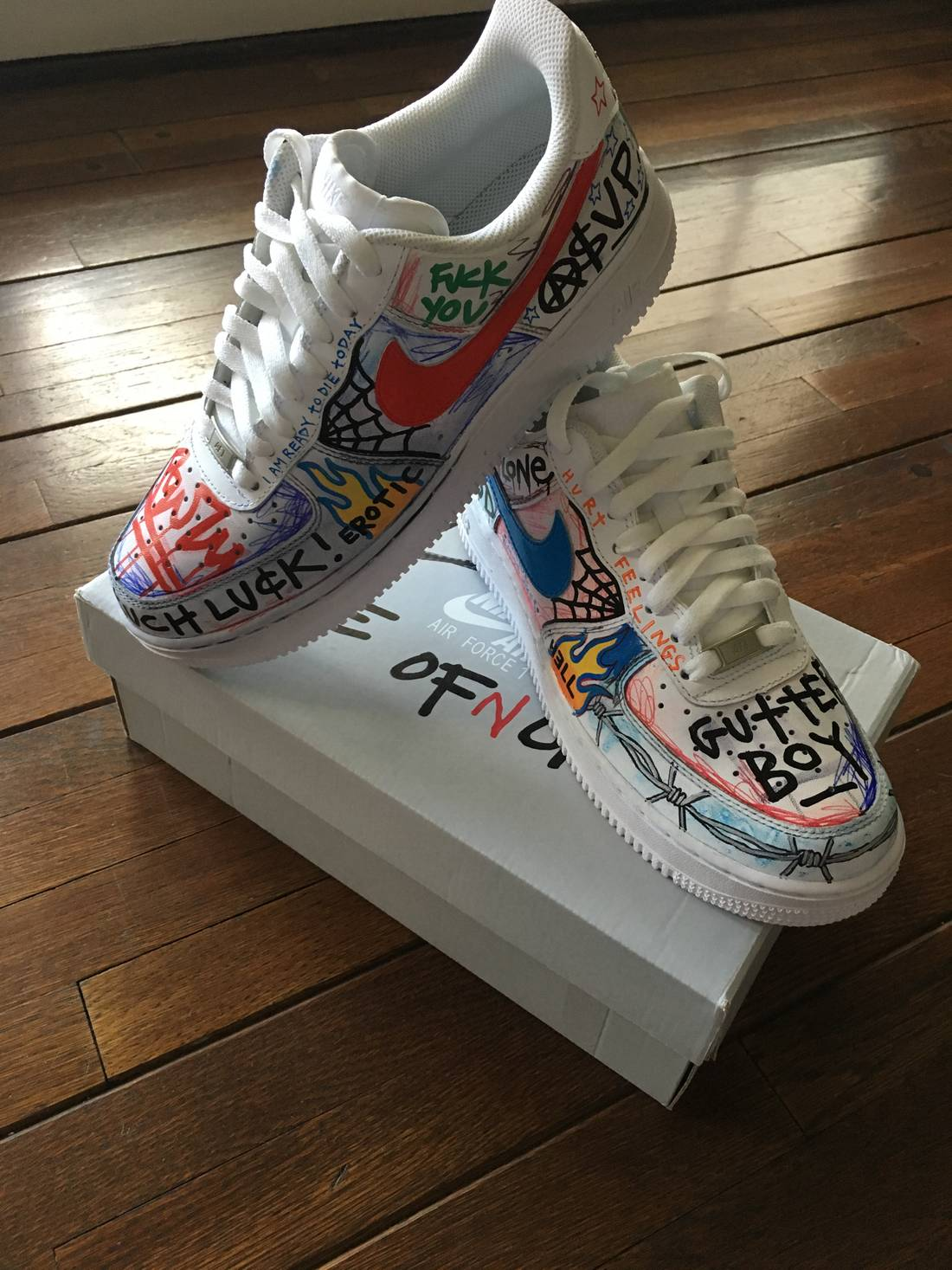 save off 3ff72 bb992 custom nike pauly vlone custom air force 1 low white for sale