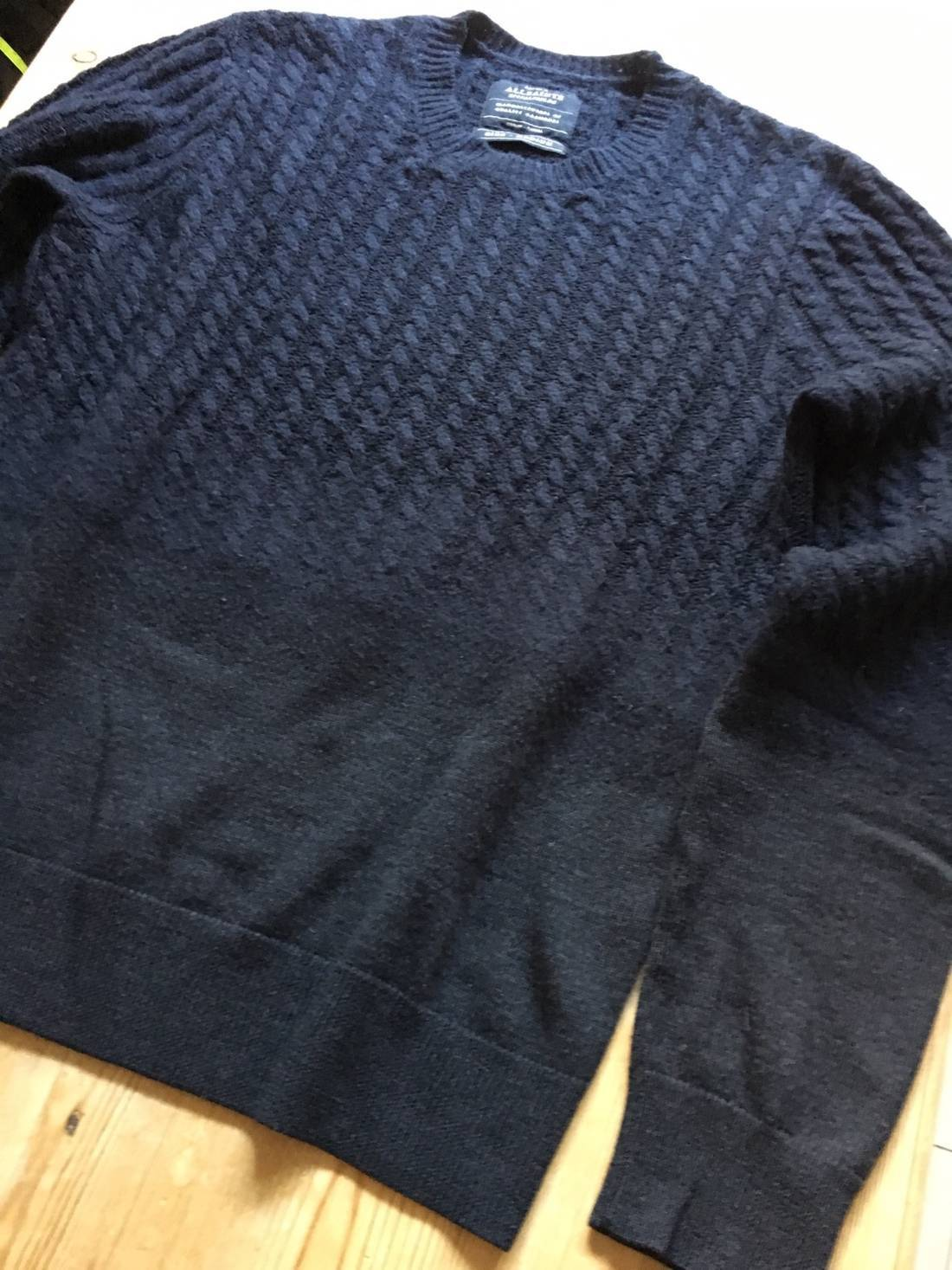 Allsaints Navy Blue Wool Cashmere Blend Gradient Cable Knit Sweater