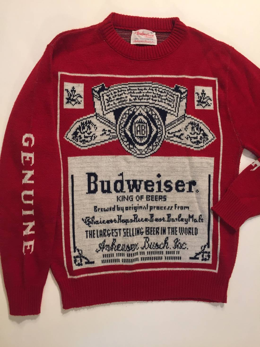 Budweiser Vintage Double Sided Sweater With Sleeve Print Size s ...