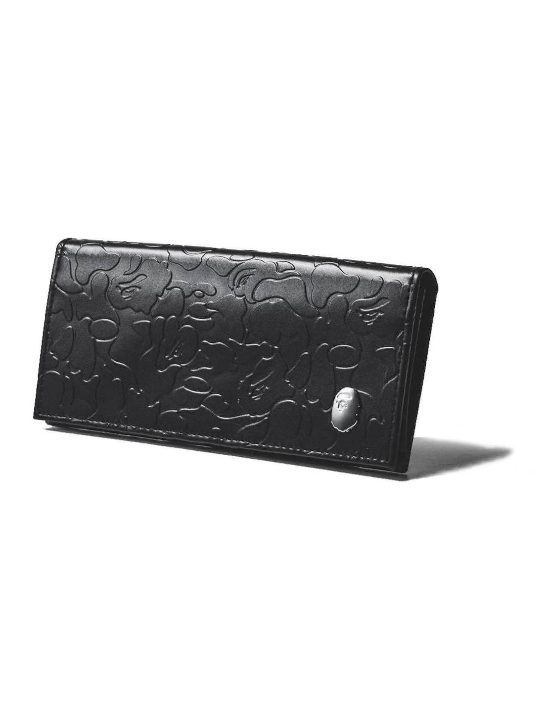 Bape Bape Wallet Embossed Camo Silver Logo Black Vegan Leather A Bathing Ape Size One