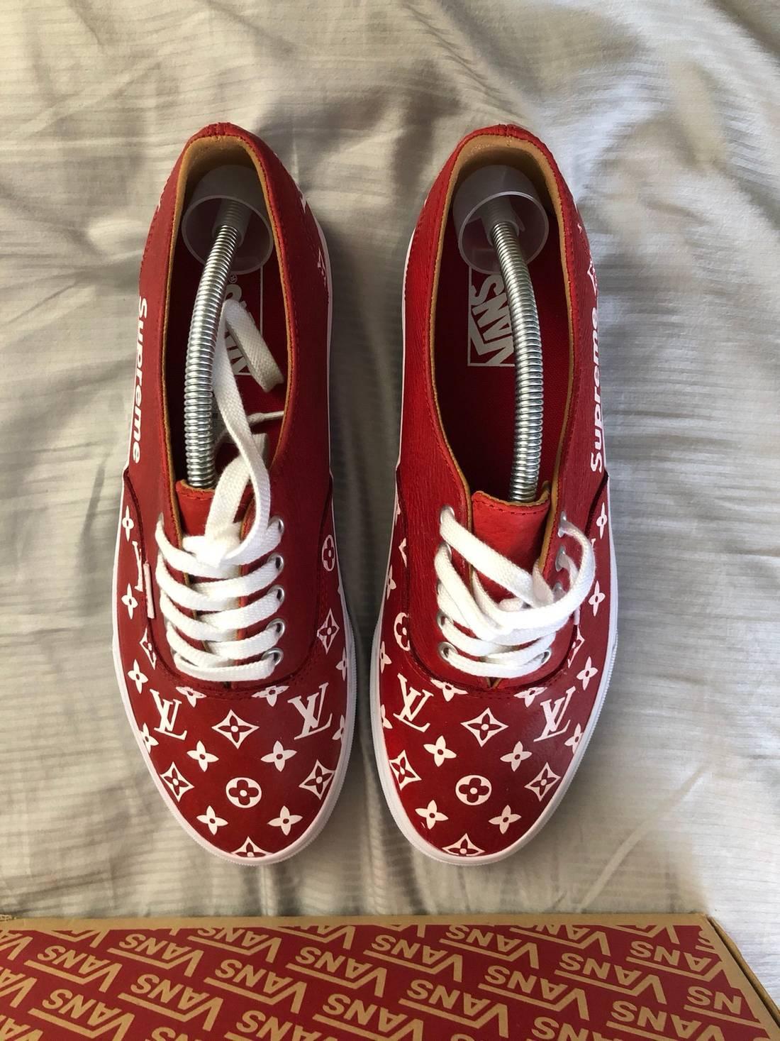 Vans FINAL DROP Custom Hand Painted Red White Supreme X Louis Vuitton Size