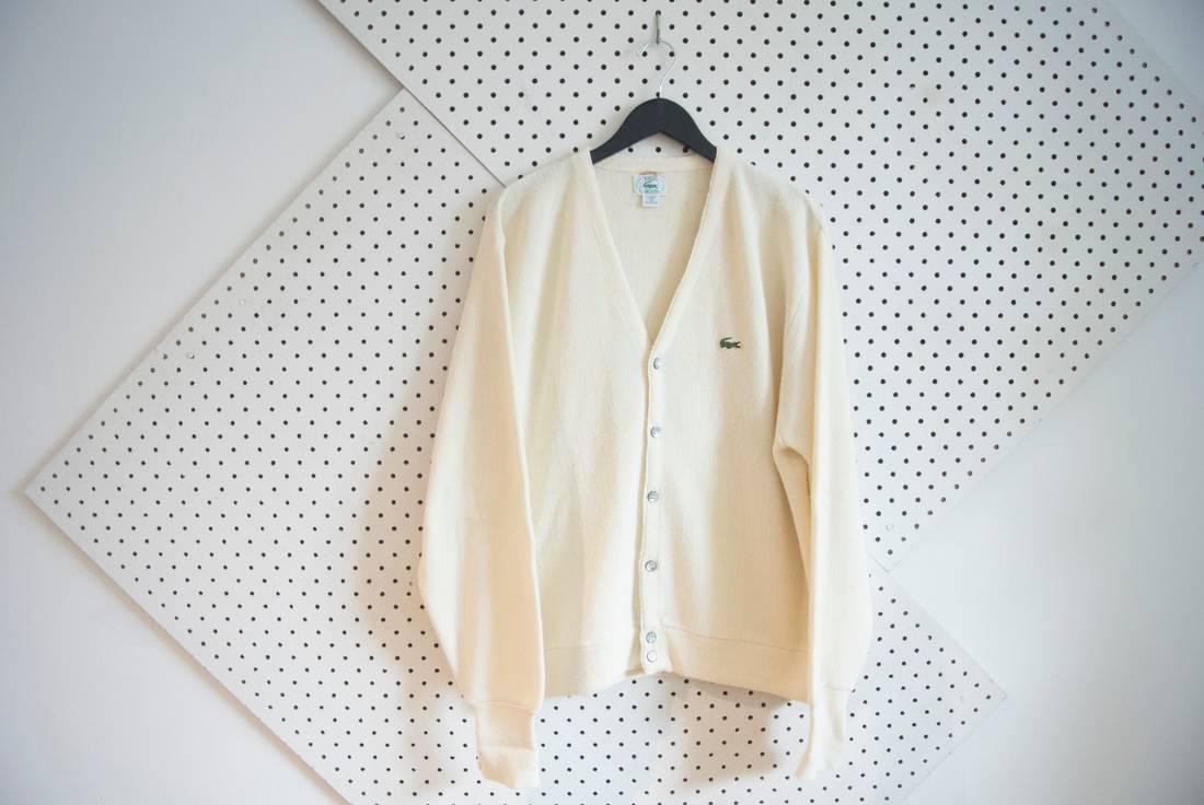 Vintage vintage izod lacoste cream off white cardigan sweater ...