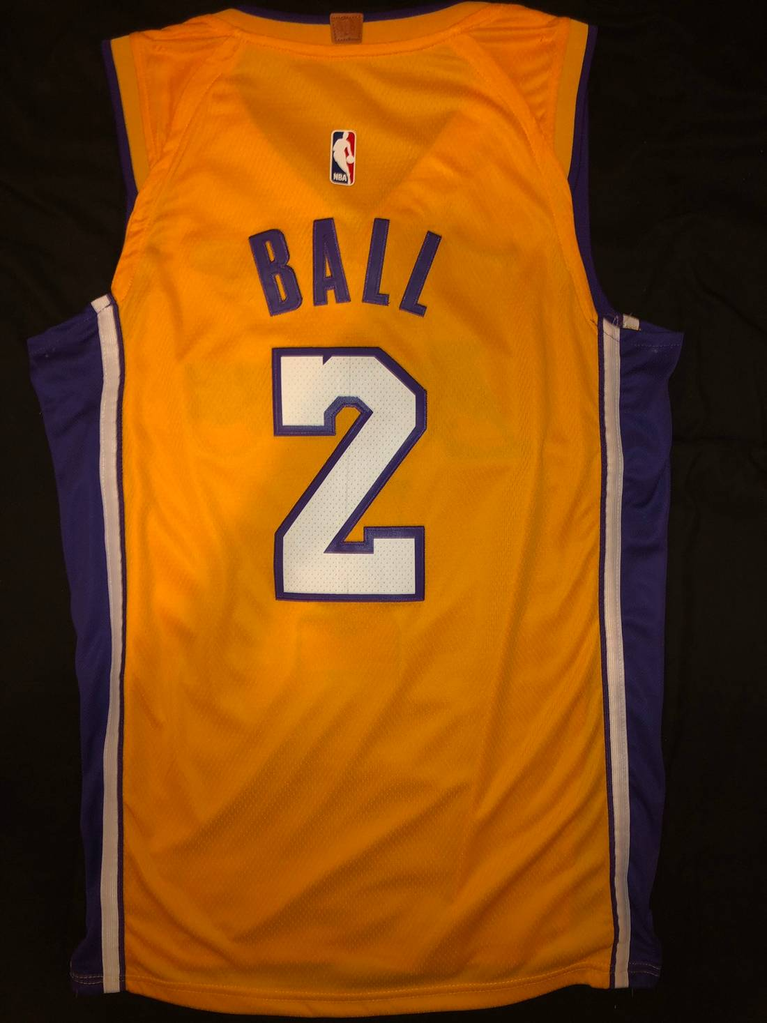 68f4850a2952 ... promo code for nba 2017 18 home los angeles lakers lonzo ball jersey  size us m