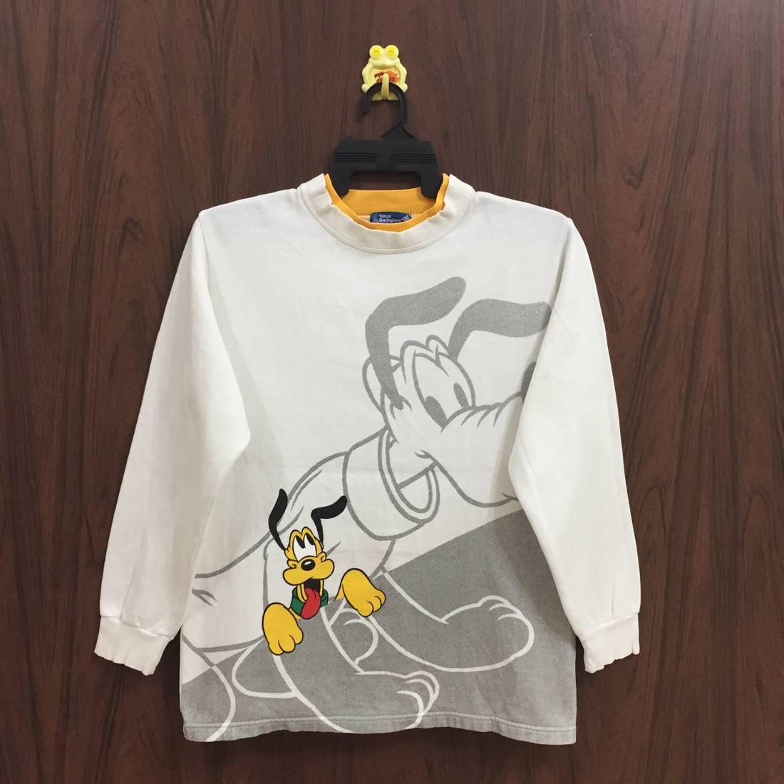 Vintage Mickey Mouse and pluto walt disney crewneck big logo sweatshirt jumper jacket L size
