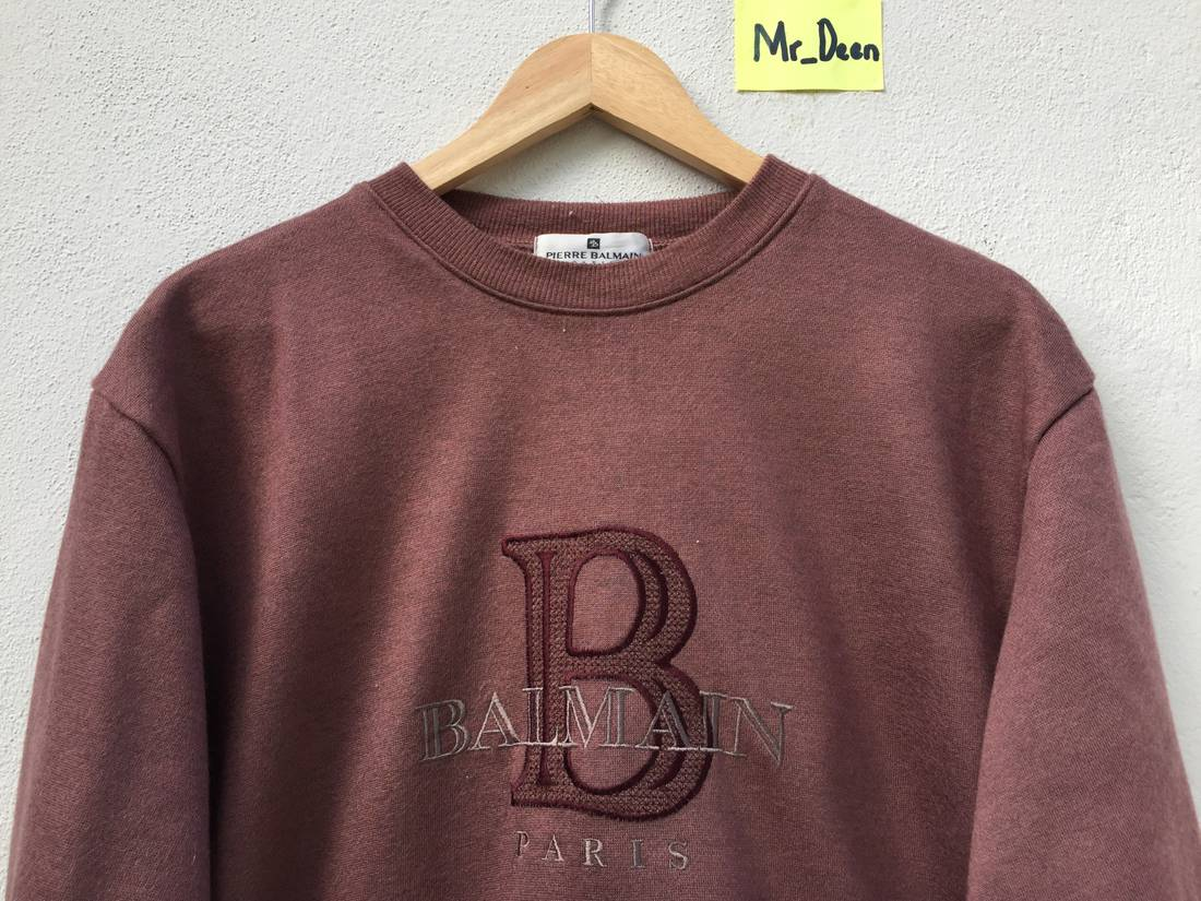 Vintage Pierre Bailman Embriodery Big Logo spell Out Pullover