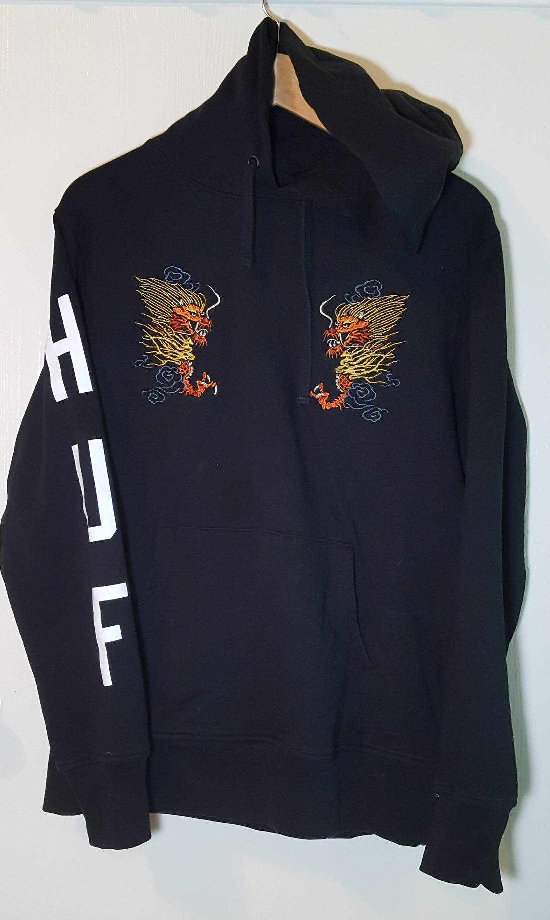Huf Embroidered Dragon HUF Black Pullover Hoodie Men sz L Size l ...