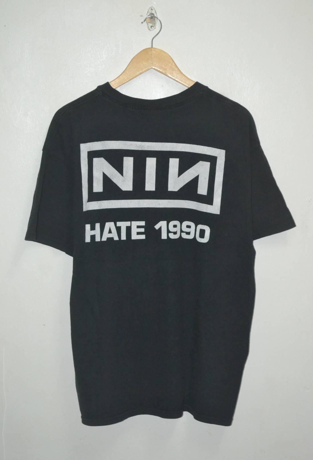 Rock T Shirt VINTAGE 90s NINE INCH NAILS HATE 1990 SHIRT Size l ...
