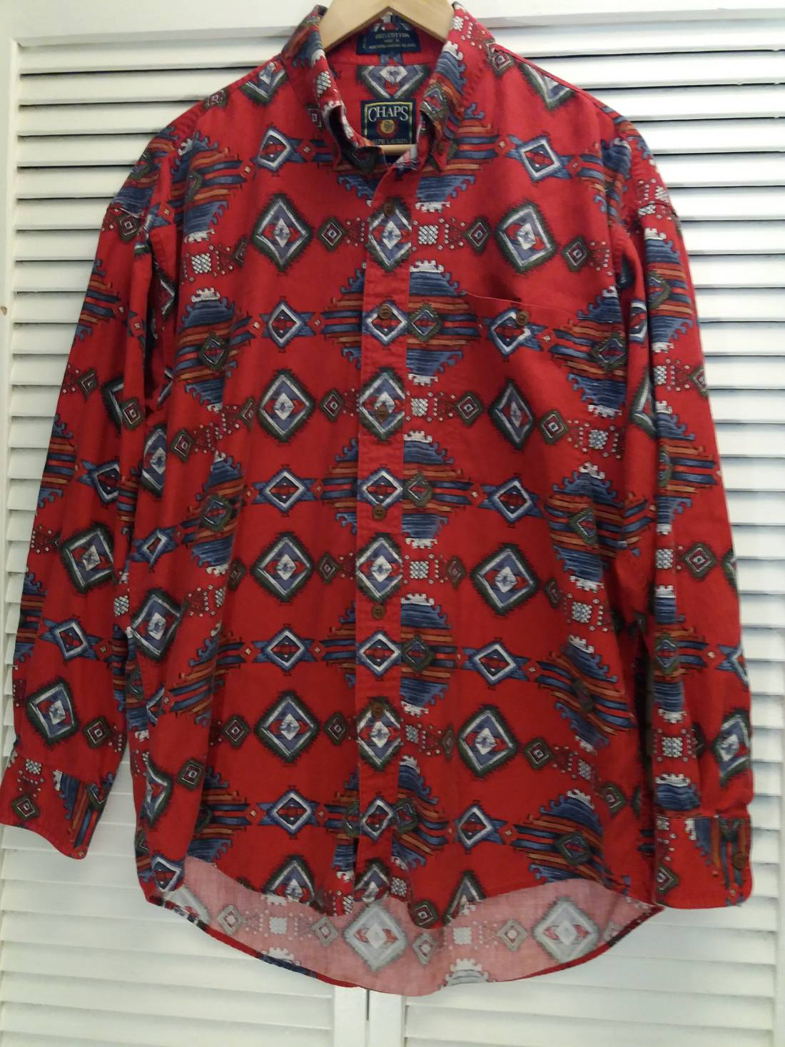 62c37899467b ... cheap vintage rare 90s vtg chaps by ralph lauren country western  pattern longsleeve button up shirt reduced womens rl 103 grey red ...