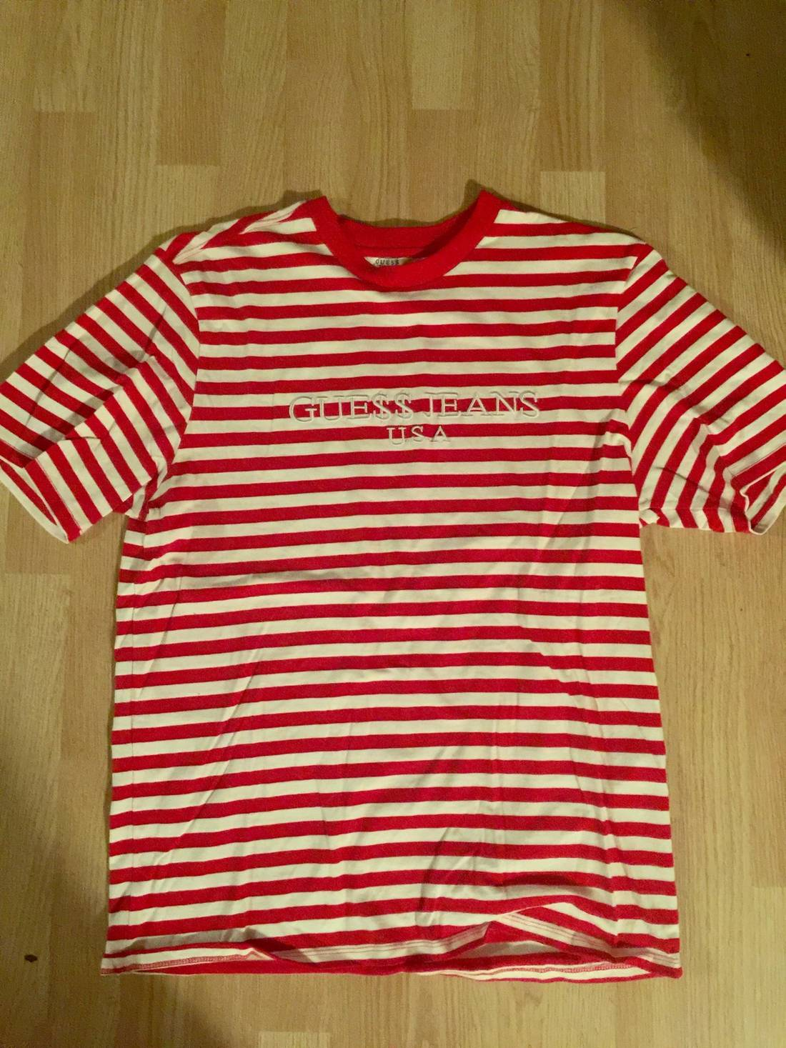 387602102c Guess Jeans Usa Red Striped Shirt - raveitsafe