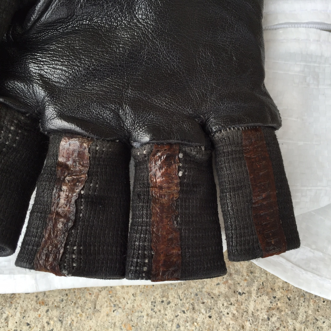 Black leather cut off gloves -  Carol Christian Poell Black Leather Cut Off Gloves Size 40 2