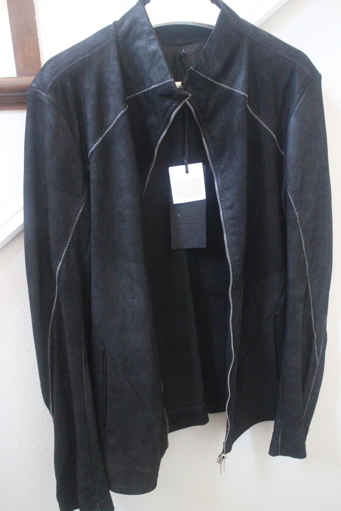 Leather jacket xl size -  10sei0otto Black Lamb Blistered Overlock Detail Leather Jacket Xl Size Us Xl Eu 56