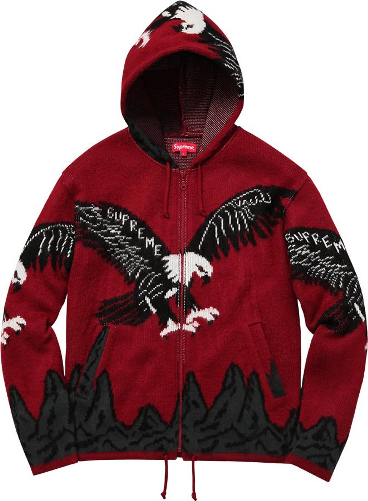 Supreme Eagle Hooded Zip Up Sweater Grailed