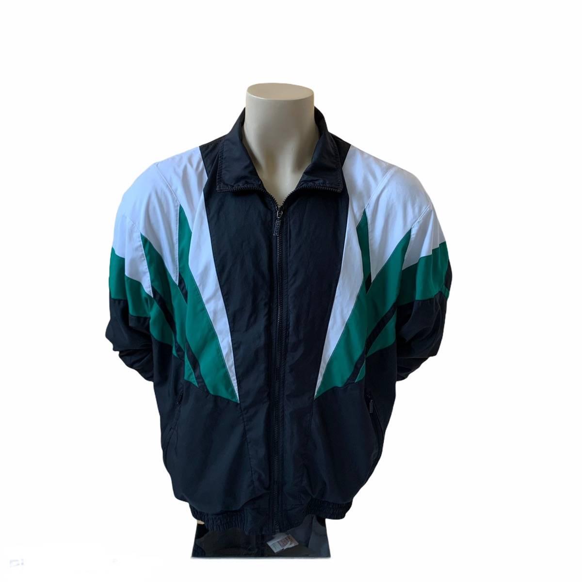 Vintage colorful Track jacket  Size Large 90s Green men windbreaker