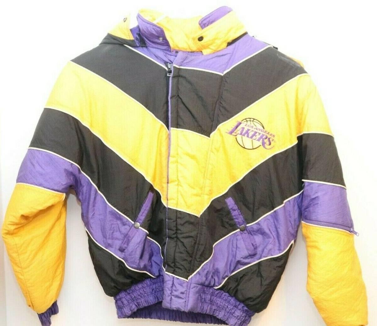 Vintage Vintage Los Angeles Lakers La Pro Player Jacket Color Block Spellout Nba Sz L Grailed