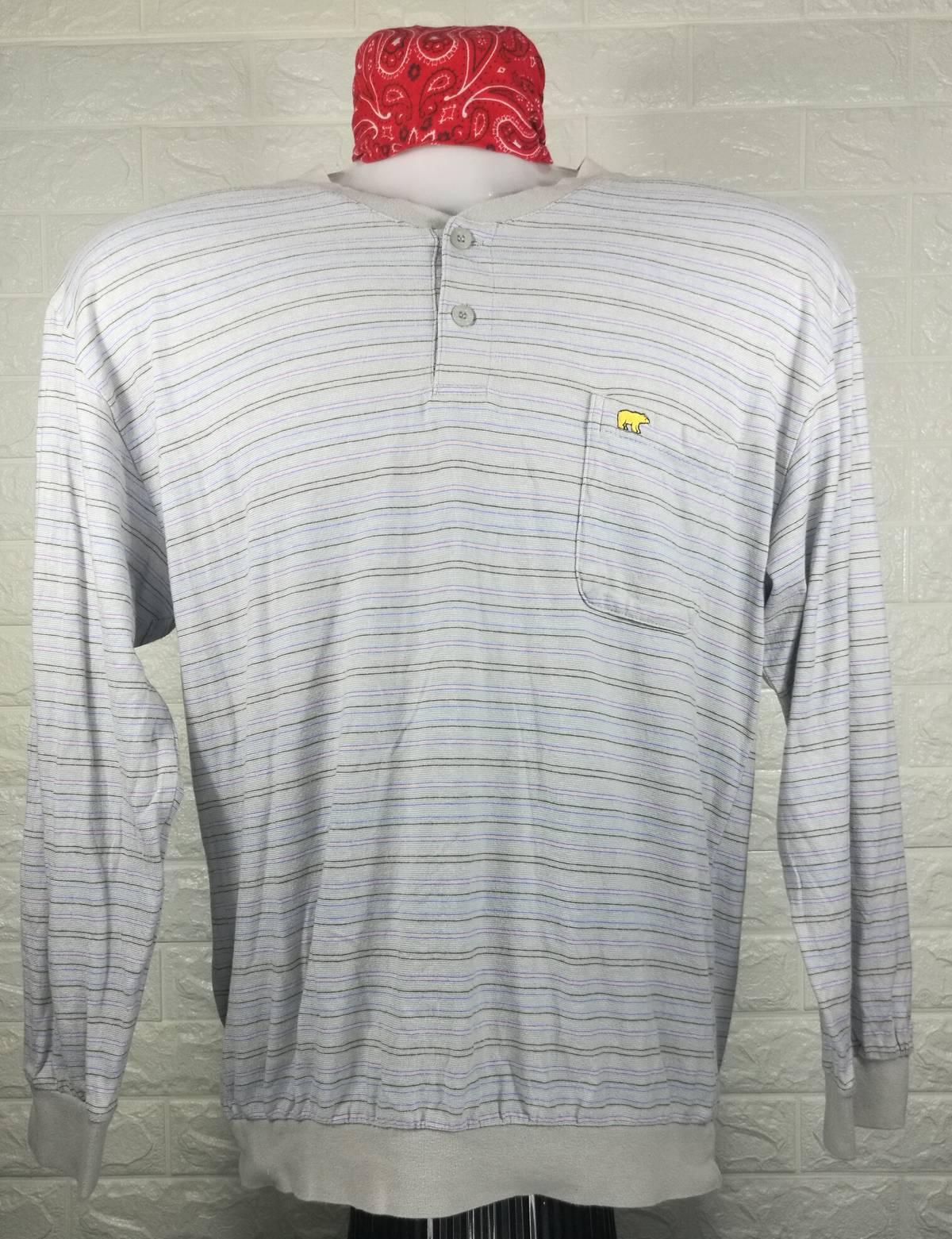 Vintage GOLDEN BEAR Polo Shirt Men Large 90/'s Golden Bear Single Pocket Long Sleeves Shirt Golden Bear Stripes Multicolor Shirt Men Size L