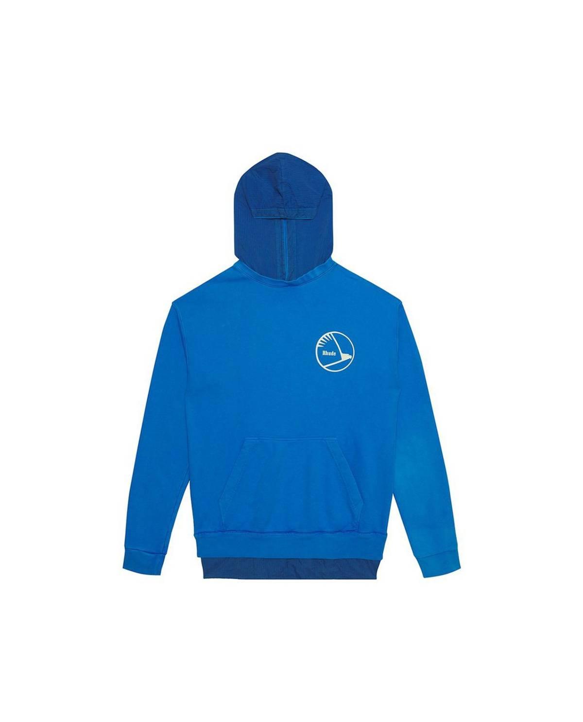 Rhude Rhude Layered French Terry Nylon Hoodie Blue Size Xl $194