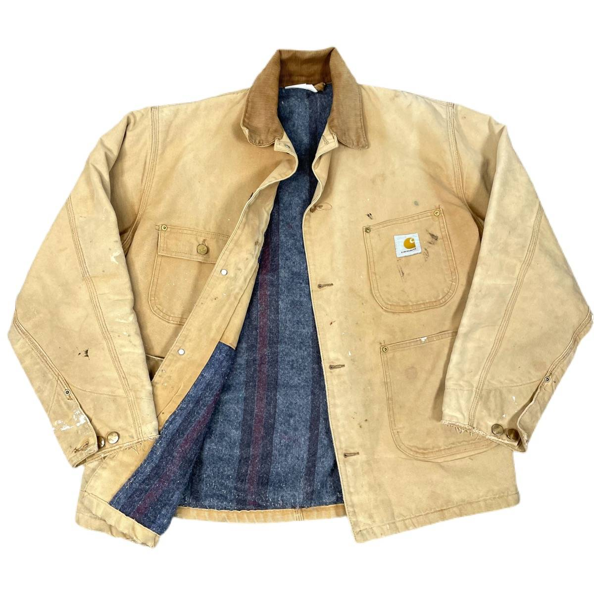 Work Chore Distressed Jacket Vintage Carhartt Blanket Lined Barn Coat Brown