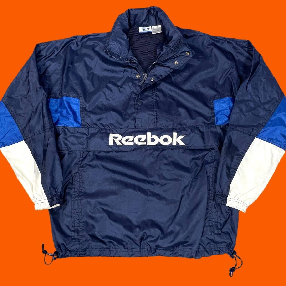 vintage 80s 90s windbreaker Reebok jacket  black with pin stripes down sleeve and front oversized windbreaker track jacket 90s clothing