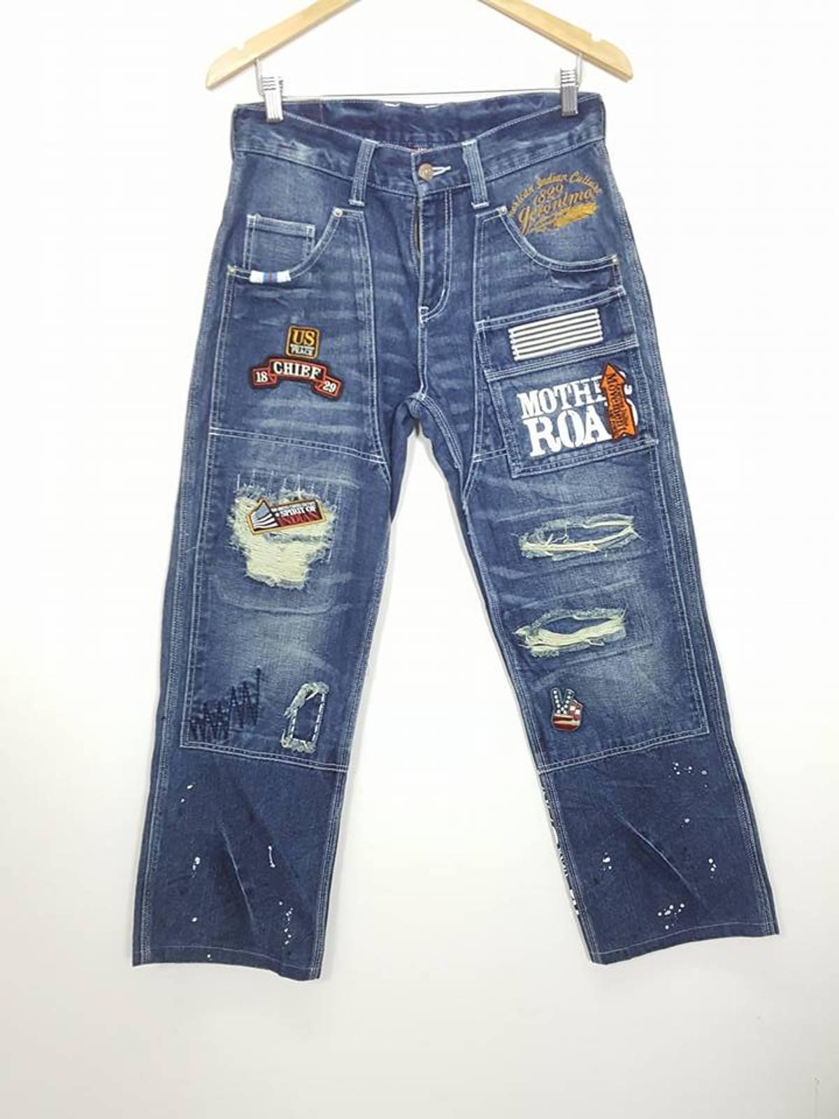 Patchwork Distressed Rugged Denim Jeans