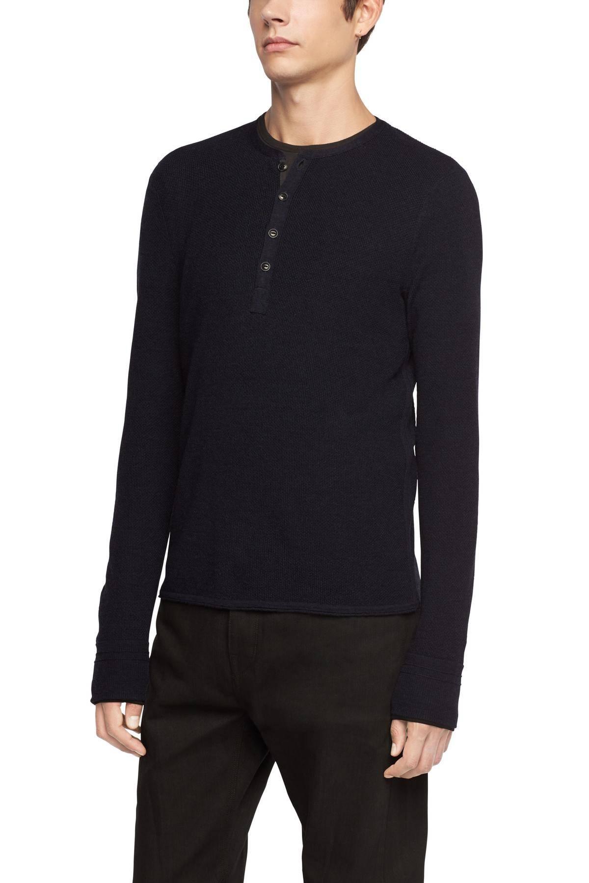 MSRP $250 RAG /& BONE Mens Giles Henley Cotton Cashmere Pullover Burgundy