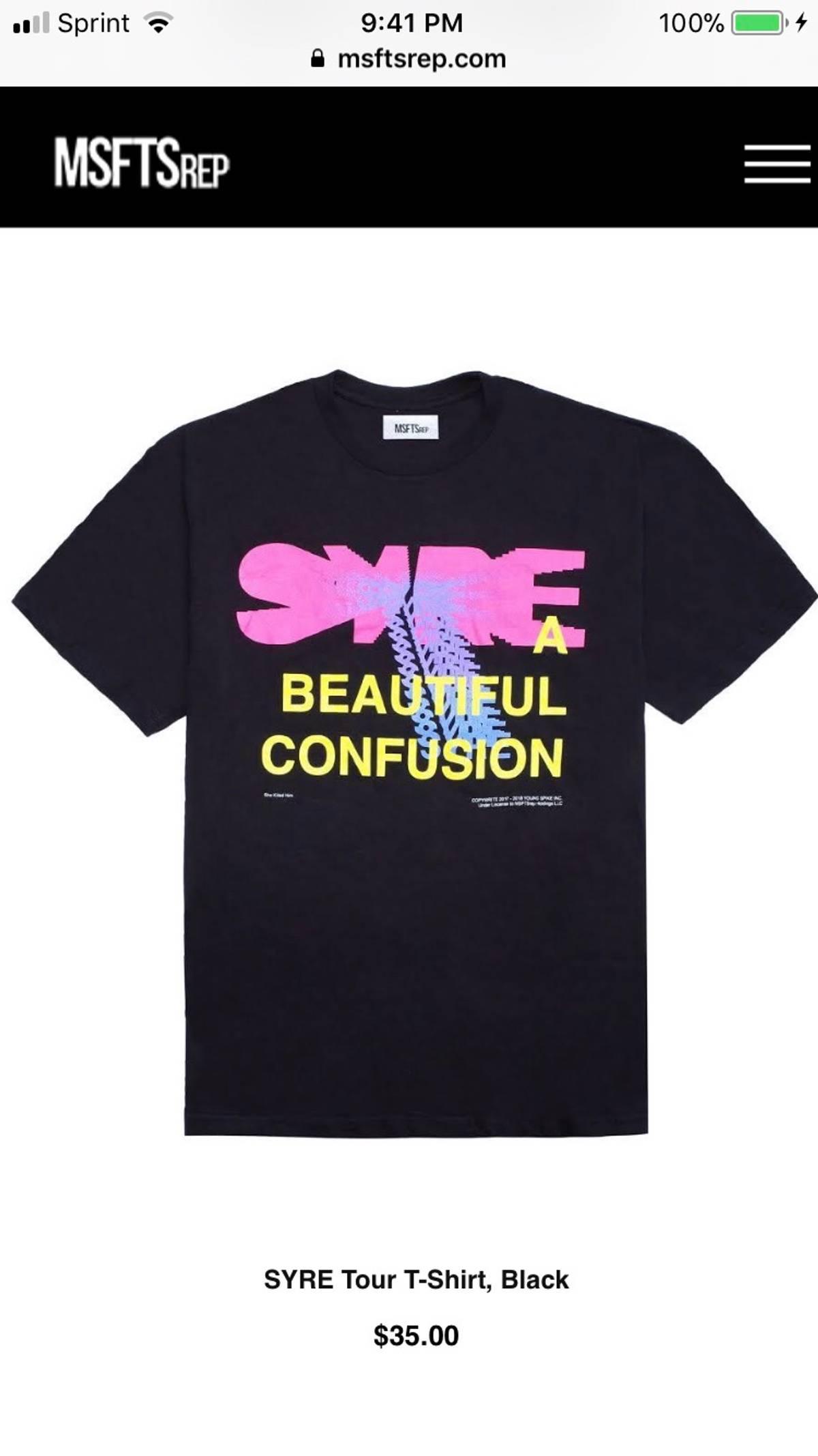 Msftsrep Msftsrep Syre Tour T-shirt, Black $35 Jaden Smith ...