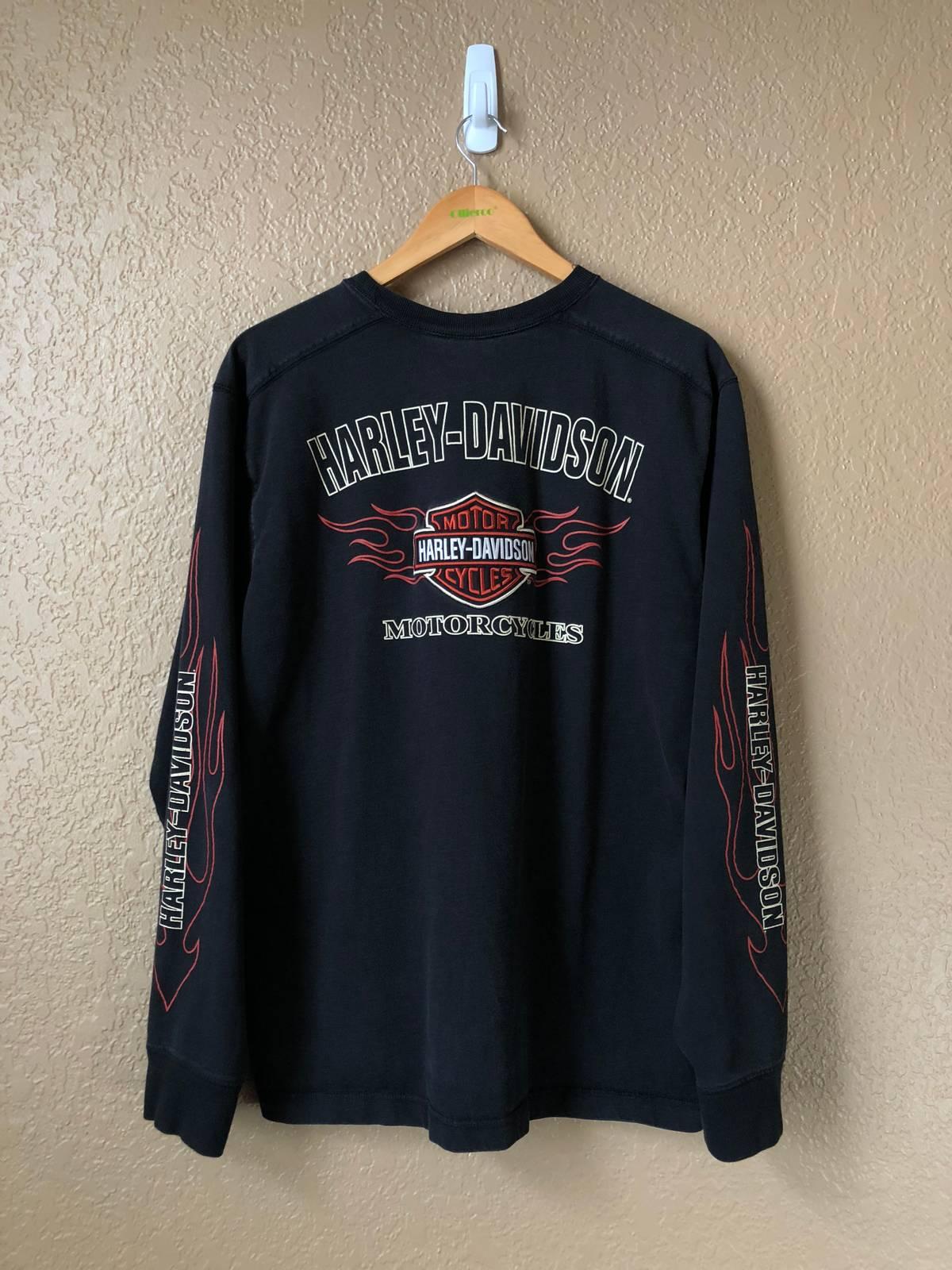 Vintage HARLEY DAVIDSON Motorcycle Flame Fire T Shirt Logo Art Fashion