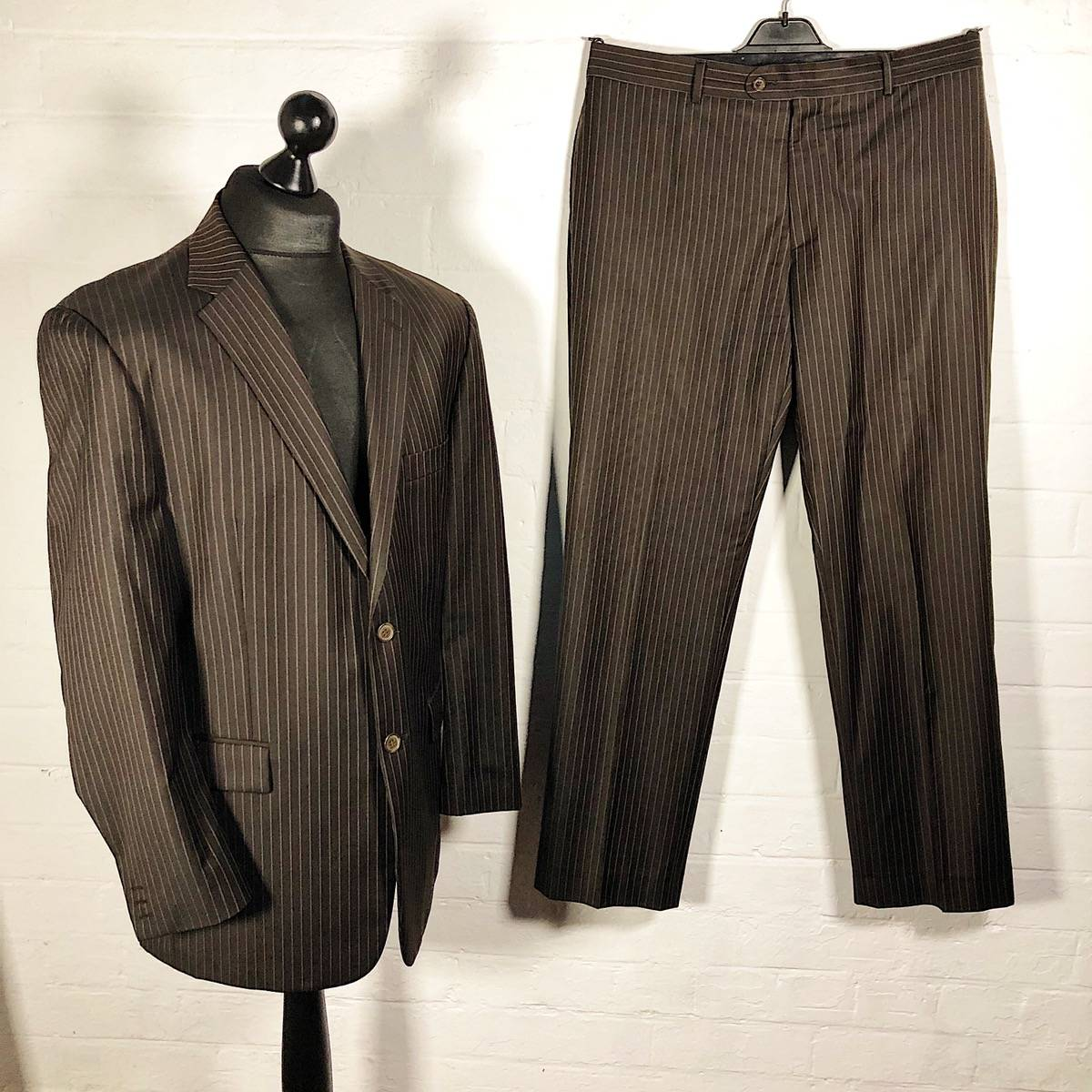 good selling outlet store various design Ysl Pour Homme Yves Saint Laurent Brown Pinstripe Suit | Grailed