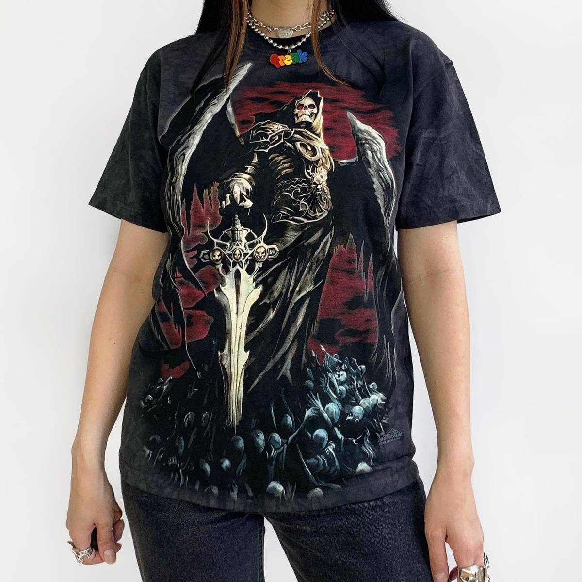 The Mountain Come Get it Shirt Top Gothic Reaper Baseball Sport Skull #3218 603