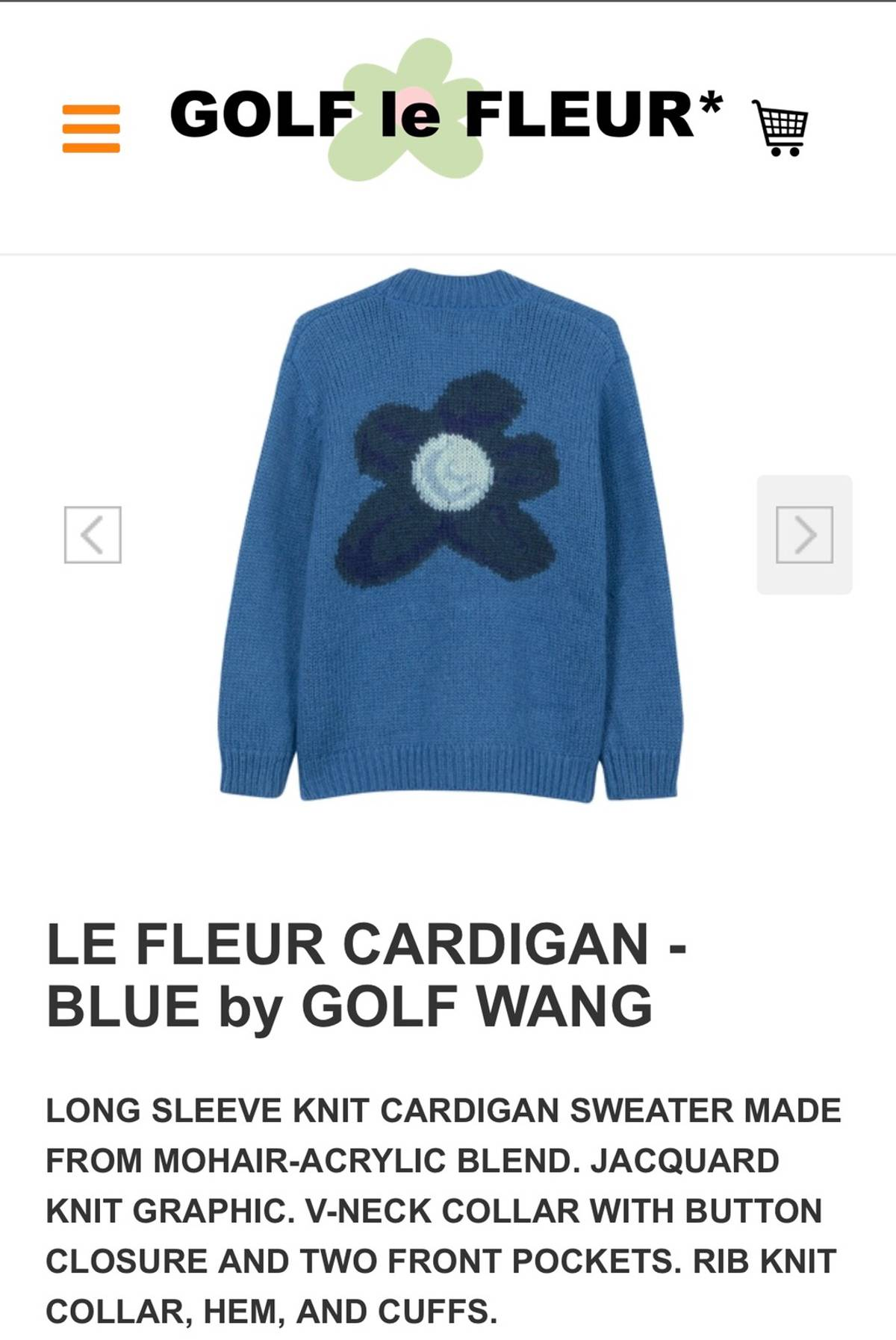 Golf Wang Golf Le Fleur Golf Wang Blue Flower Cardigan Grailed