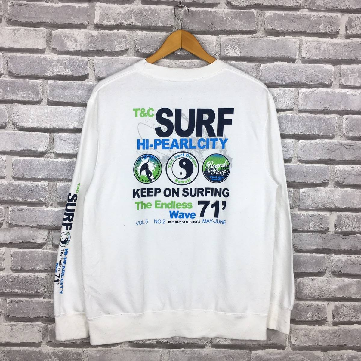 Vintage 90s T/&C SURF DESIGN Hawaii Sweatshirt Big Logo At Both Side Spell Out Made In Japan Surfing Snowboard Brand
