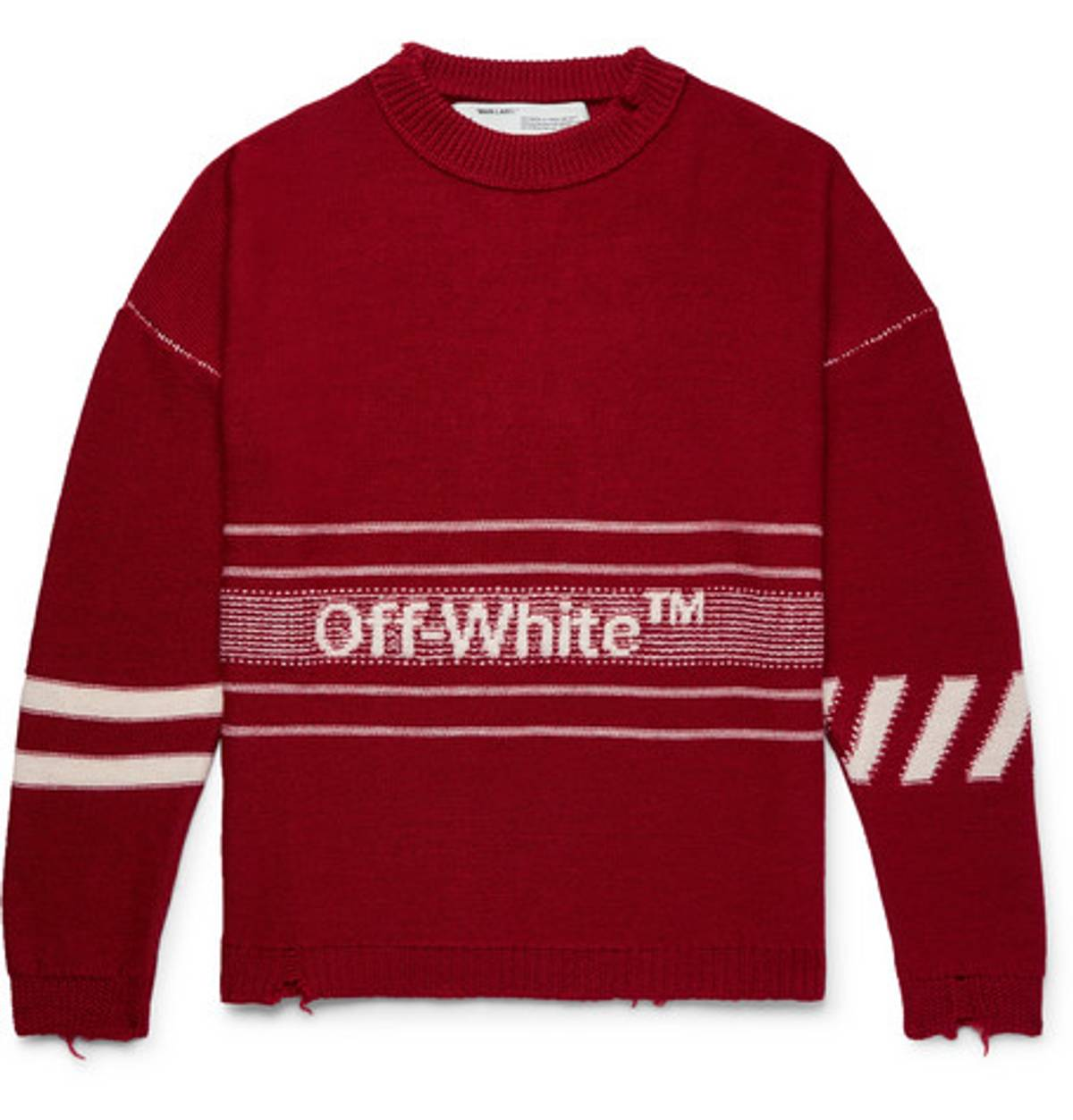 Off White Oversized Distressed Logo Intarsia Wool Sweater Size L $491