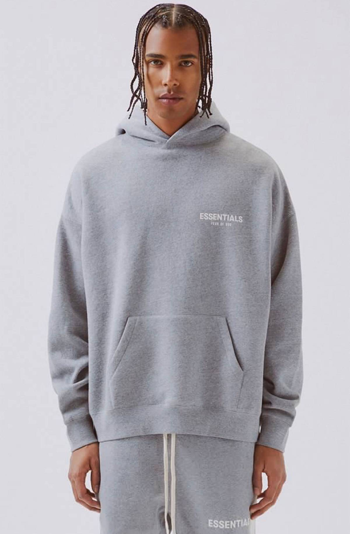 FOG PACSUN Fear Of God Logo Pullover Hoodie GREY SIZE:S M