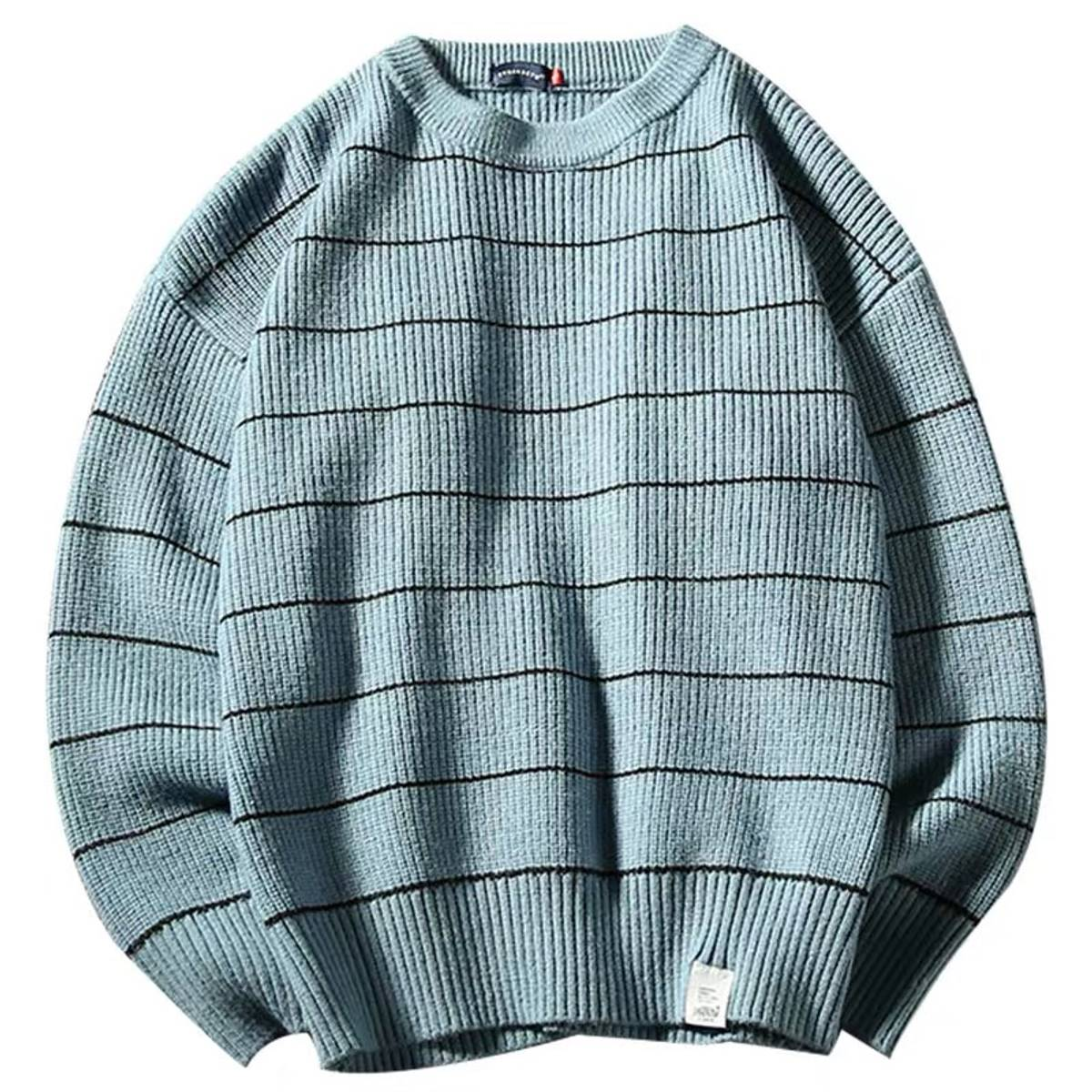 Custom 2019 AW Simple Blue Japan Blue Striped Sweater Size M $85