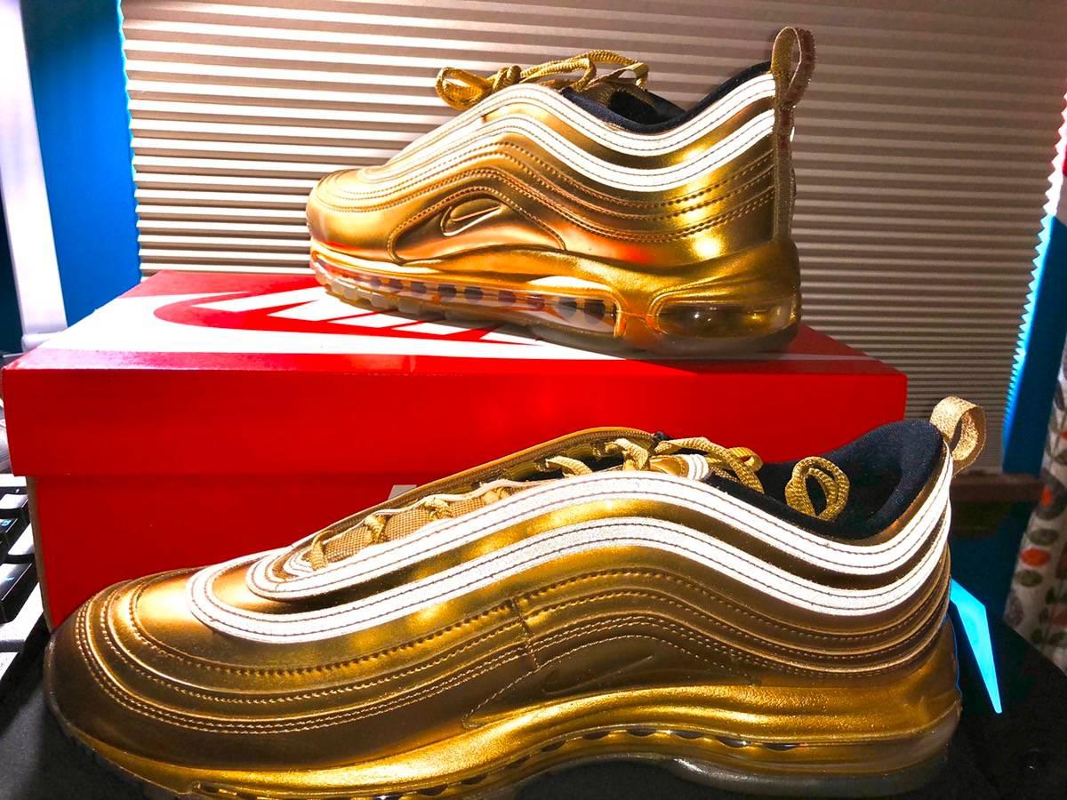 air max 97 gold medal on feet