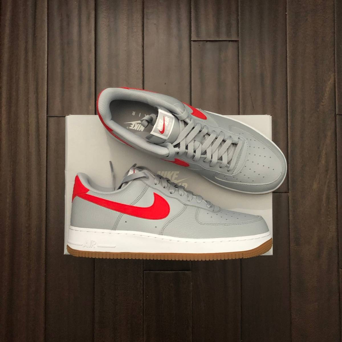 Nike Nike Air Force 1 07 Wolf Grey University Red Grailed