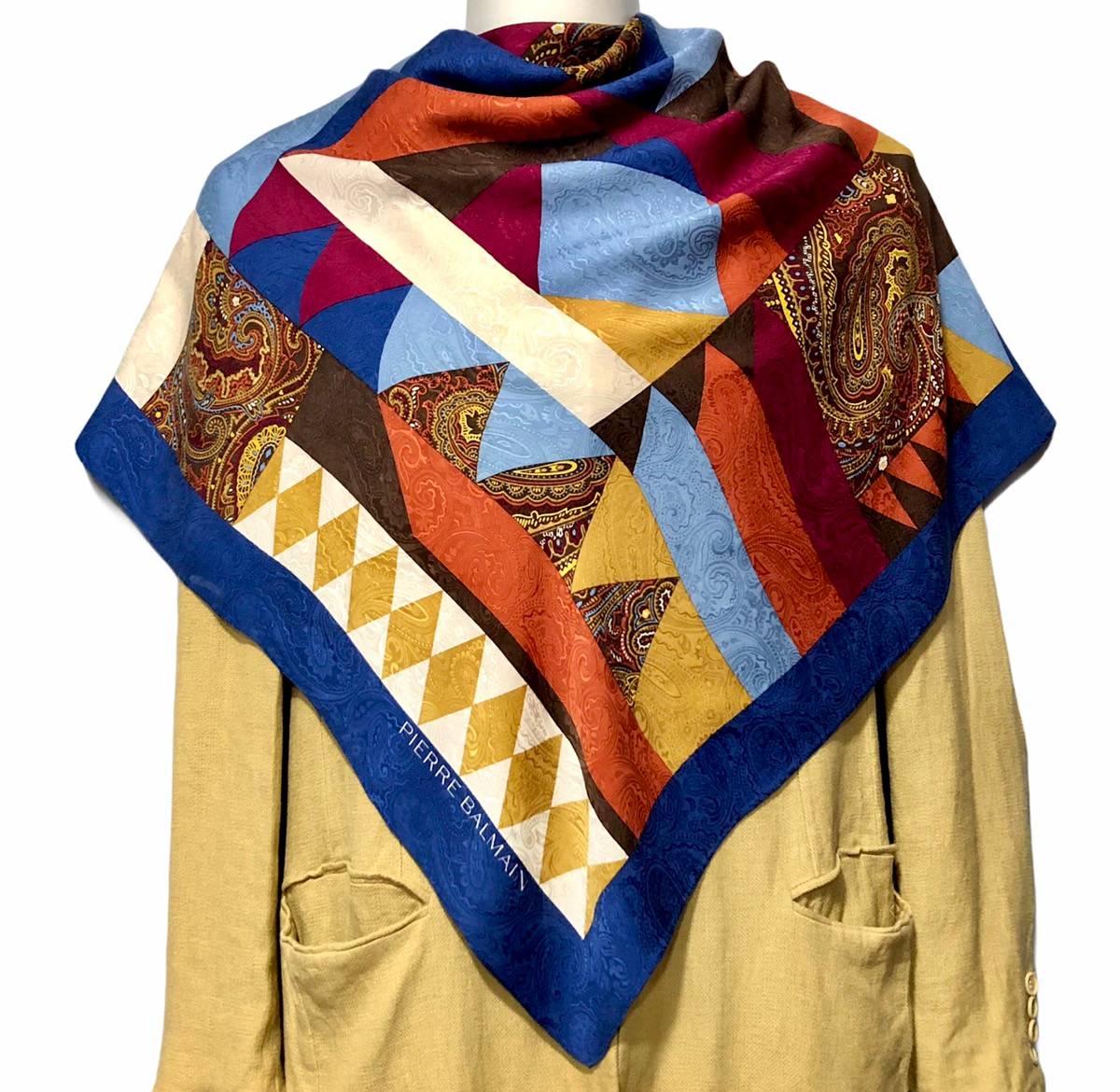P 2718 Free post Authentic Pierre Balmain  silk scarf 30x30