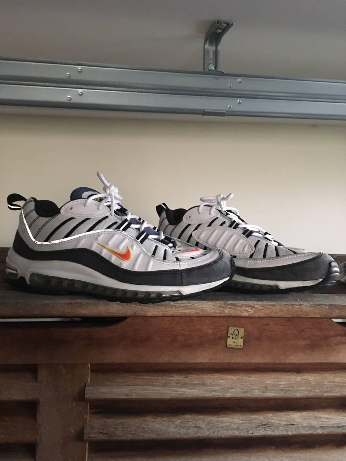 nike air max 98 og white & team orange