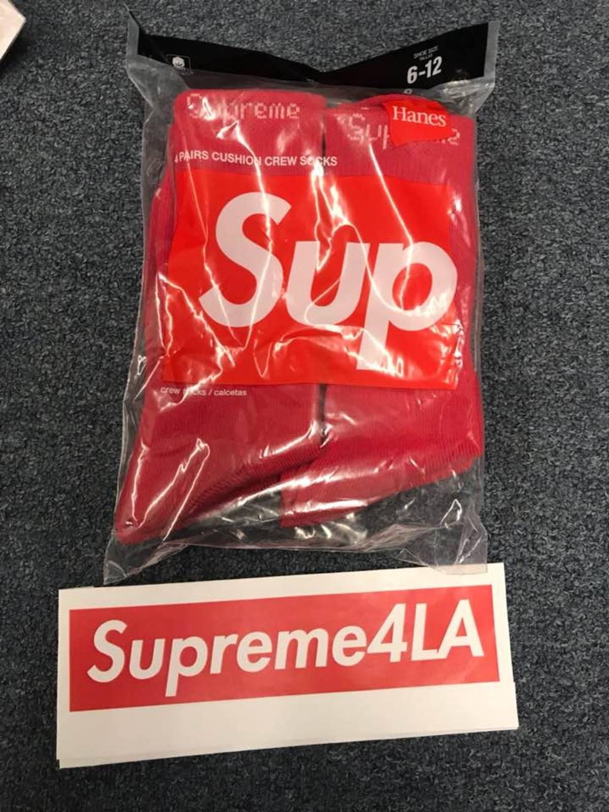 MEN/'S SUPREME SOCKS HANES CREW RED 1 PAIR BOX LOGO CLASSIC 6-12 FW19 BRAND NEW