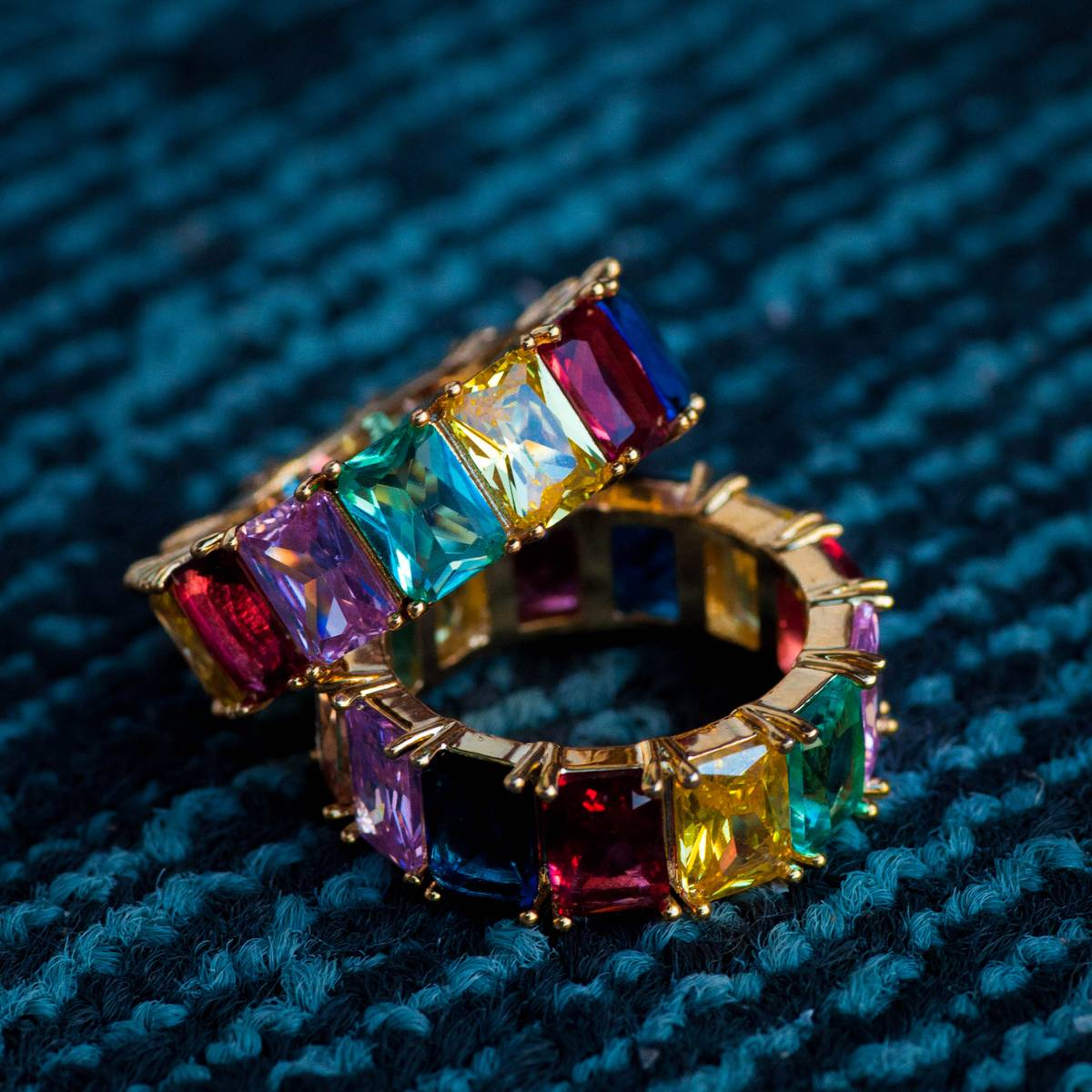 14k Gold Baguette Ring w Multi-Colored Stones Rainbow size 8 9 10 LIFETIME WARRANTY