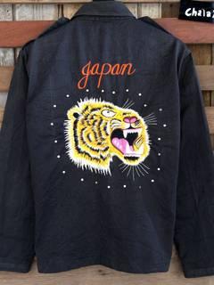 Mega rare !! Vintage 90s souvenirs unbrand sukajan jacket tiger japan spellout embroidery logo !!!!! Rare 90s foZfYE