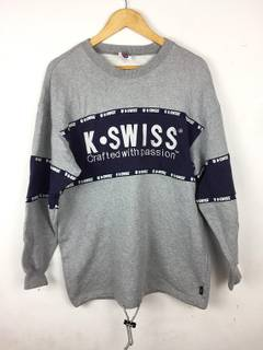 Rare!! K.SWISS crafted with passion sweatshirt spell out nice design hip hop style half zipper big logo multicolour XL size 5Ci2tOmgN