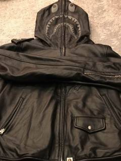 173b4fa813da Bape BAPE Shark Hooded Leather Jacket Rare