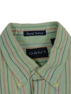 1308508a Gant × Vintage Vintage GANT sz L Royal Oxford Striped Pastel Short Sleeve Button  Up Oversized