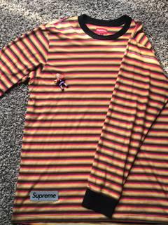 7c10d421ae Supreme Supreme Classic Logo Long Sleeve Shirt Cream Red Striped ...